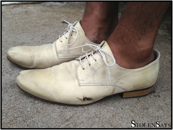 Kenneth Cole White Distressed Oxfords